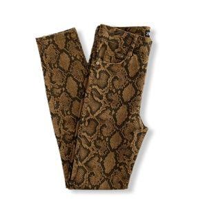 Zara Snakeskin Print Brown Skinny Jeans Size 4